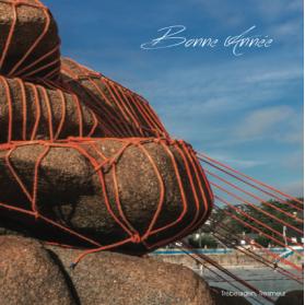 Carte de voeux  - plage de Tresmeur, cote de granit rose